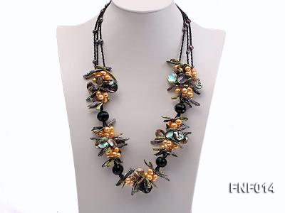Freshwater Pearl, Agate Beads and Seashell Pieces Necklace FNF014 Image 1