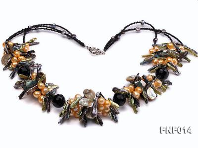 Freshwater Pearl, Agate Beads and Seashell Pieces Necklace FNF014 Image 2