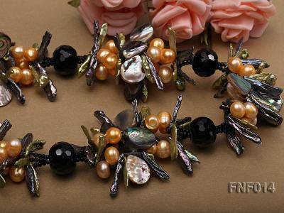 Freshwater Pearl, Agate Beads and Seashell Pieces Necklace FNF014 Image 4