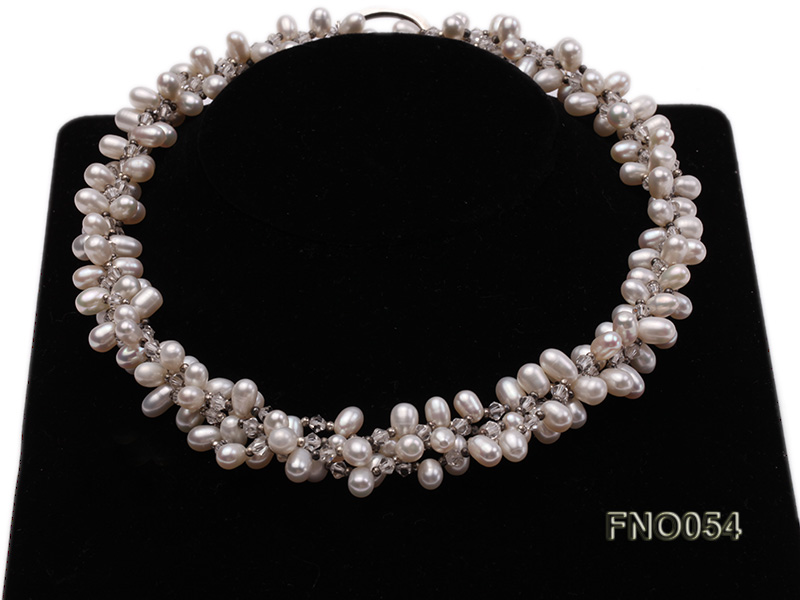 6x9mm white oval freshwater pearl and Austria crystal necklace big Image 2