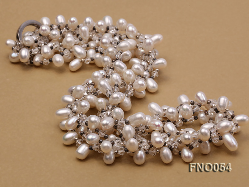 6x9mm white oval freshwater pearl and Austria crystal necklace big Image 4