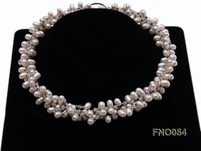 6x9mm white oval freshwater pearl and Austria crystal necklace FNO054 Image 2