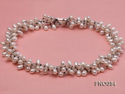 6x9mm white oval freshwater pearl and Austria crystal necklace FNO054 Image 3