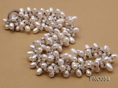 6x9mm white oval freshwater pearl and Austria crystal necklace FNO054 Image 4