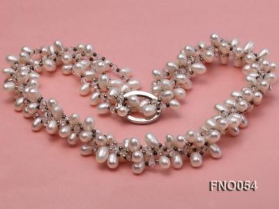 6x9mm white oval freshwater pearl and Austria crystal necklace FNO054 Image 5