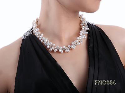 6x9mm white oval freshwater pearl and Austria crystal necklace FNO054 Image 1