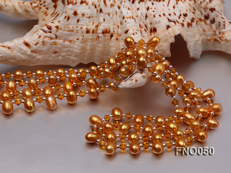 6x9mm light yellow oval freshwater pearl and Austria crystal necklace big Image 5