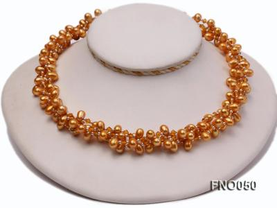 6x9mm light yellow oval freshwater pearl and Austria crystal necklace FNO050 Image 1