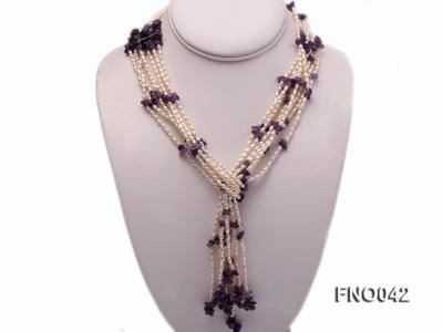 3x4.5mm white oval freshwater pearl and broken amethyst necklace FNO042 Image 1
