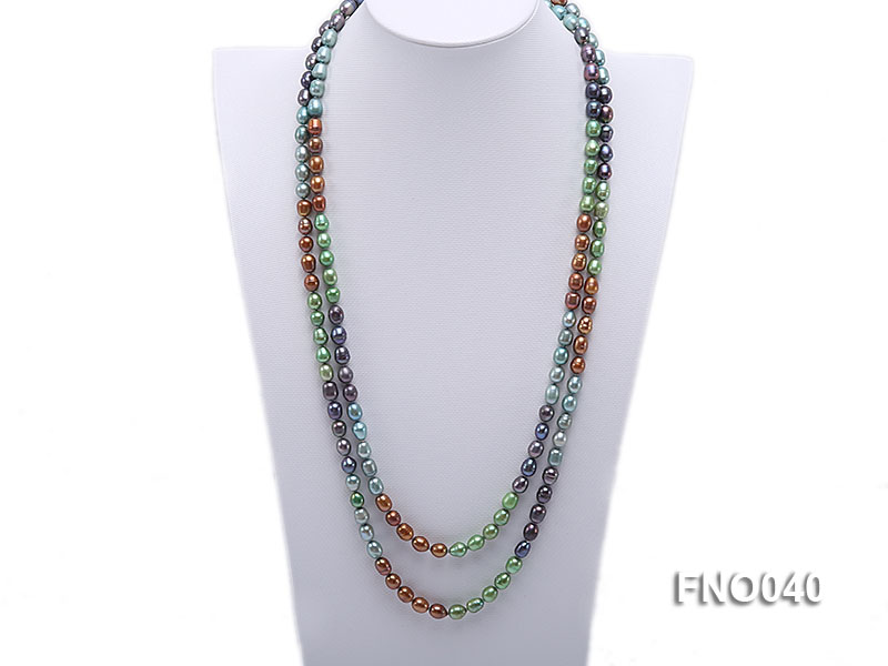 7x9mm multicolor oval freshwater pearl necklace big Image 1