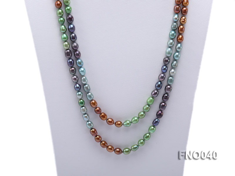 7x9mm multicolor oval freshwater pearl necklace big Image 2