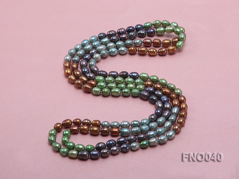7x9mm multicolor oval freshwater pearl necklace big Image 4