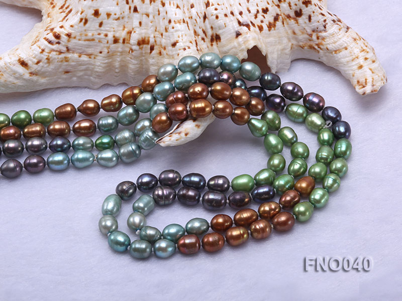 7x9mm multicolor oval freshwater pearl necklace big Image 5