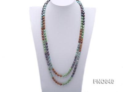 7x9mm multicolor oval freshwater pearl necklace FNO040 Image 1