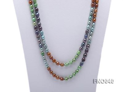 7x9mm multicolor oval freshwater pearl necklace FNO040 Image 2