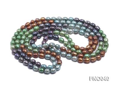 7x9mm multicolor oval freshwater pearl necklace FNO040 Image 3
