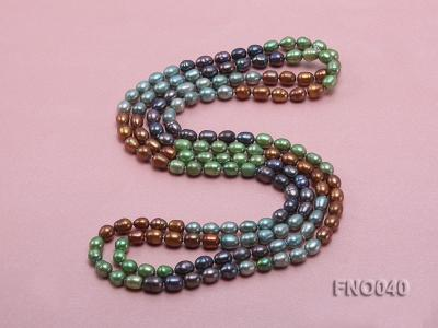 7x9mm multicolor oval freshwater pearl necklace FNO040 Image 4