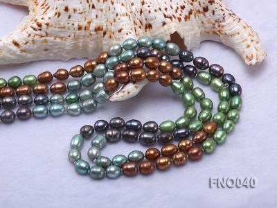 7x9mm multicolor oval freshwater pearl necklace FNO040 Image 5