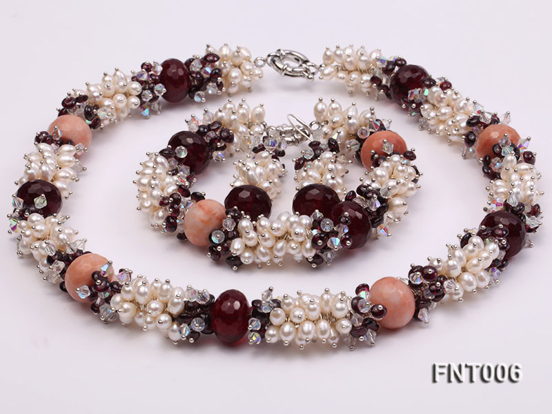 White Freshwater Pearl, Red Agate Beads & Garnet Beads Necklace, Bracelet and Earrings Set big Image 2