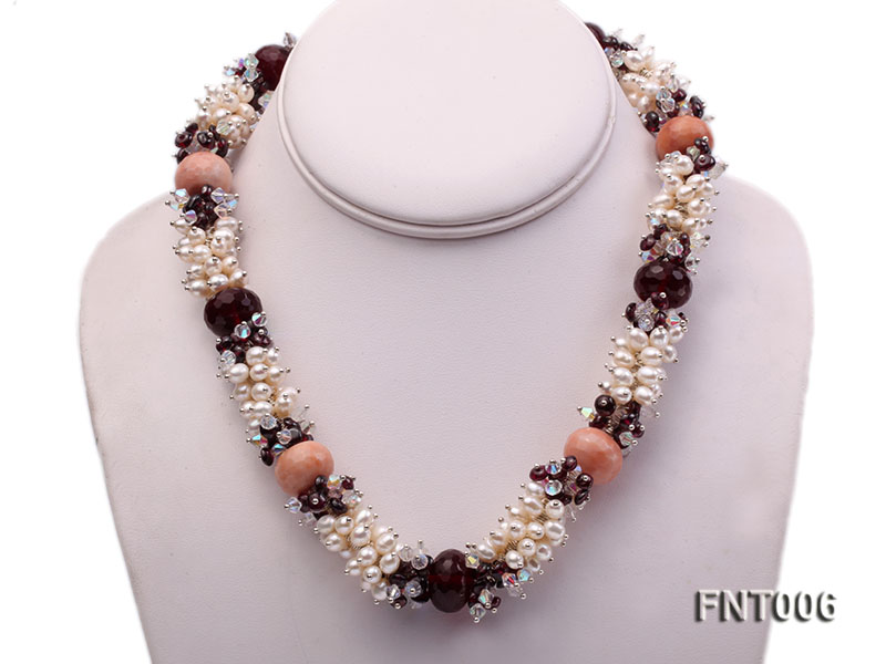 White Freshwater Pearl, Red Agate Beads & Garnet Beads Necklace, Bracelet and Earrings Set big Image 3