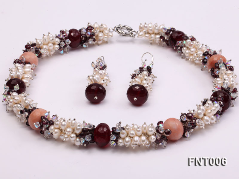 White Freshwater Pearl, Red Agate Beads & Garnet Beads Necklace, Bracelet and Earrings Set big Image 4