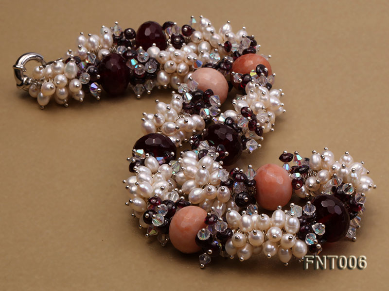 White Freshwater Pearl, Red Agate Beads & Garnet Beads Necklace, Bracelet and Earrings Set big Image 5