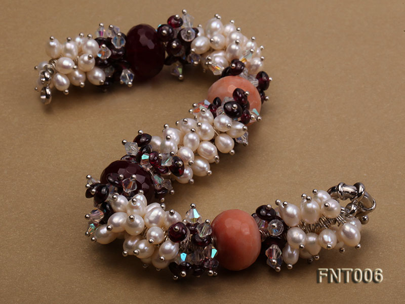 White Freshwater Pearl, Red Agate Beads & Garnet Beads Necklace, Bracelet and Earrings Set big Image 6
