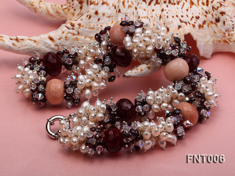 White Freshwater Pearl, Red Agate Beads & Garnet Beads Necklace, Bracelet and Earrings Set big Image 8