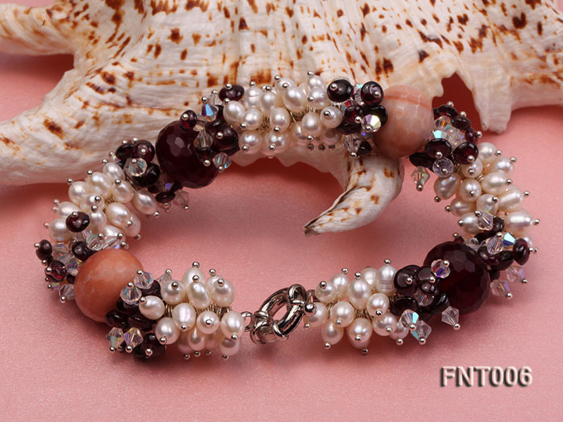 White Freshwater Pearl, Red Agate Beads & Garnet Beads Necklace, Bracelet and Earrings Set big Image 9