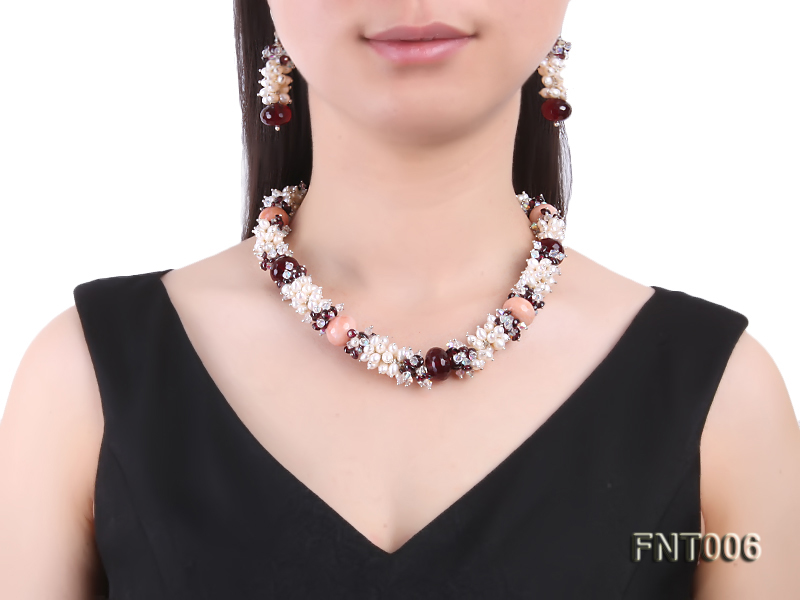 White Freshwater Pearl, Red Agate Beads & Garnet Beads Necklace, Bracelet and Earrings Set big Image 10