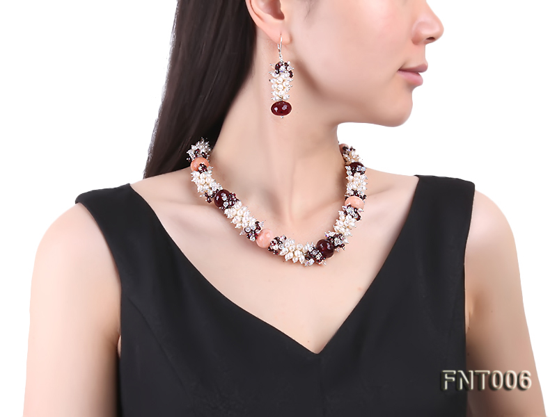White Freshwater Pearl, Red Agate Beads & Garnet Beads Necklace, Bracelet and Earrings Set big Image 11