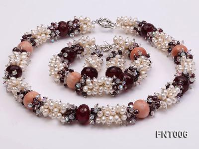 White Freshwater Pearl, Red Agate Beads & Garnet Beads Necklace, Bracelet and Earrings Set FNT006 Image 2