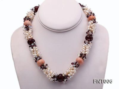 White Freshwater Pearl, Red Agate Beads & Garnet Beads Necklace, Bracelet and Earrings Set FNT006 Image 3