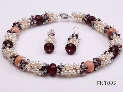 White Freshwater Pearl, Red Agate Beads & Garnet Beads Necklace, Bracelet and Earrings Set FNT006 Image 4