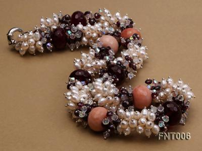 White Freshwater Pearl, Red Agate Beads & Garnet Beads Necklace, Bracelet and Earrings Set FNT006 Image 5