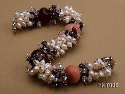 White Freshwater Pearl, Red Agate Beads & Garnet Beads Necklace, Bracelet and Earrings Set FNT006 Image 6