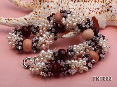 White Freshwater Pearl, Red Agate Beads & Garnet Beads Necklace, Bracelet and Earrings Set FNT006 Image 8