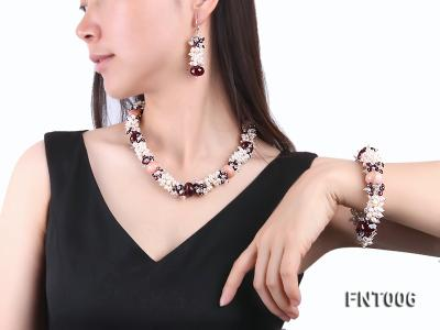 White Freshwater Pearl, Red Agate Beads & Garnet Beads Necklace, Bracelet and Earrings Set FNT006 Image 1