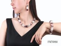 White Freshwater Pearl, Red Agate Beads & Garnet Beads Necklace, Bracelet and Earrings Set FNT006