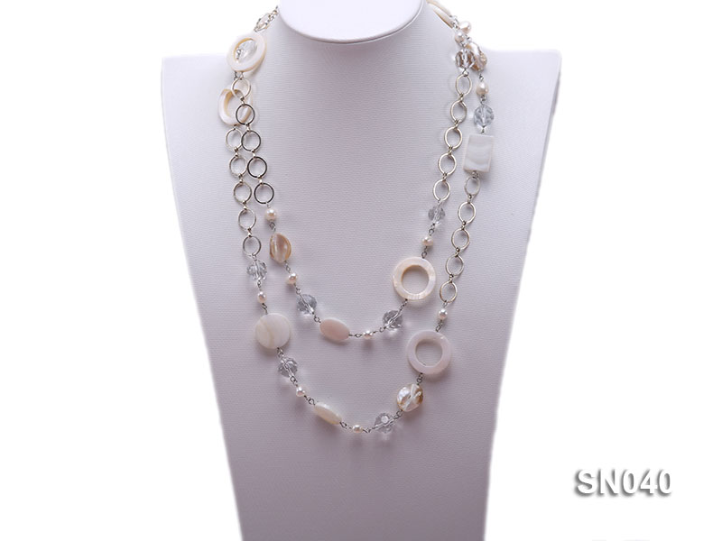 Shell, Freshwater Pearl and Crystal Opera Necklace big Image 1