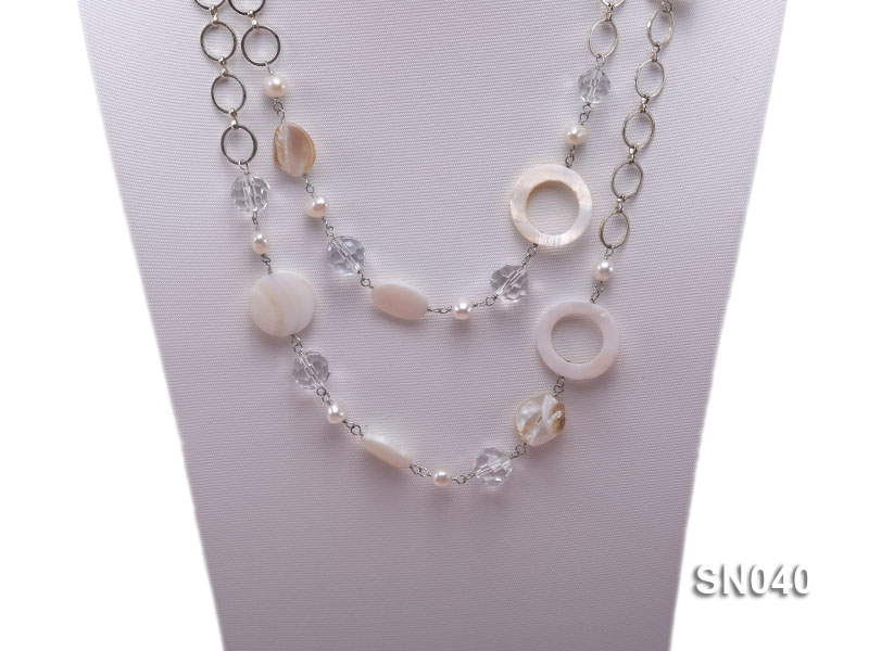 Shell, Freshwater Pearl and Crystal Opera Necklace big Image 2