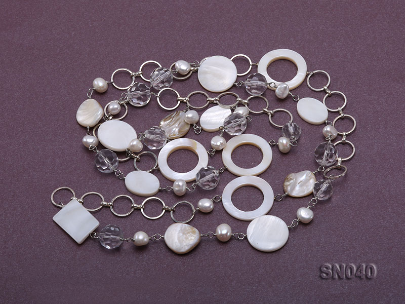 Shell, Freshwater Pearl and Crystal Opera Necklace big Image 3