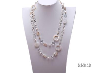 Shell, Freshwater Pearl and Crystal Opera Necklace SN040 Image 1