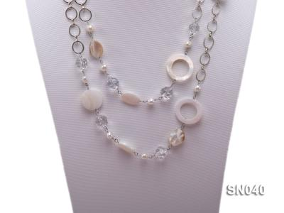 Shell, Freshwater Pearl and Crystal Opera Necklace SN040 Image 2