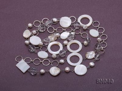 Shell, Freshwater Pearl and Crystal Opera Necklace SN040 Image 3