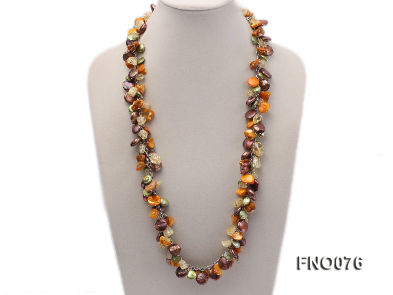 14mm white round pearl and colorful irregular crystal and yellow irregular pearl necklace big Image 1