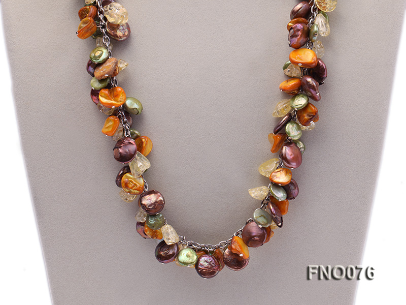 14mm white round pearl and colorful irregular crystal and yellow irregular pearl necklace big Image 2