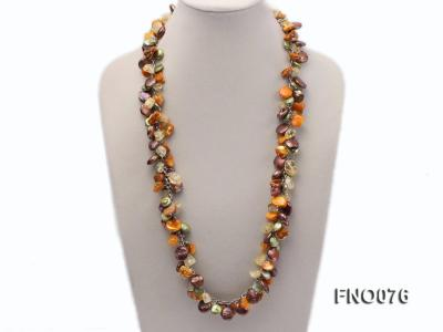 14mm white round pearl and colorful irregular crystal and yellow irregular pearl necklace FNO076 Image 1