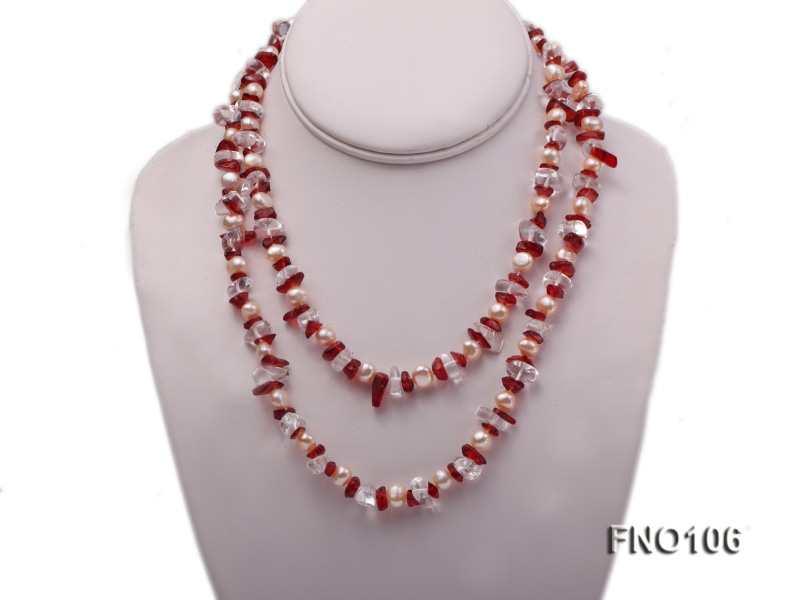7-8mm yellow freshwater pearl and white and red crystal necklace big Image 1