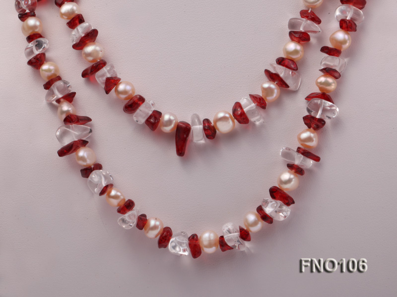 7-8mm yellow freshwater pearl and white and red crystal necklace big Image 2